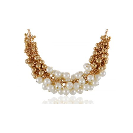 Golden Tone Faux Pearl Beads and Baubles Fashion Statement Necklace Birthstone Bead Boy Pendant