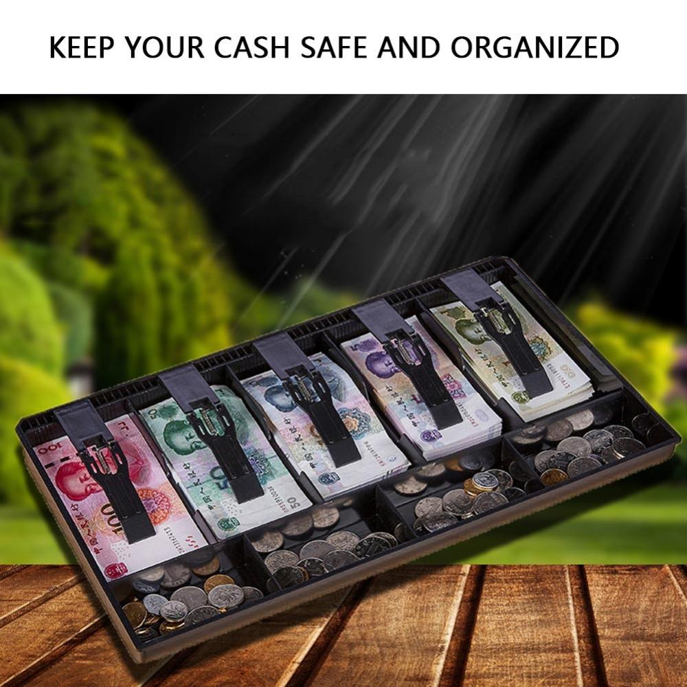 Five Grids Cash Drawer Register Insert Coin Tray Cashier Tidy Storage Safe Box, Cash Drawer,Cash Tray