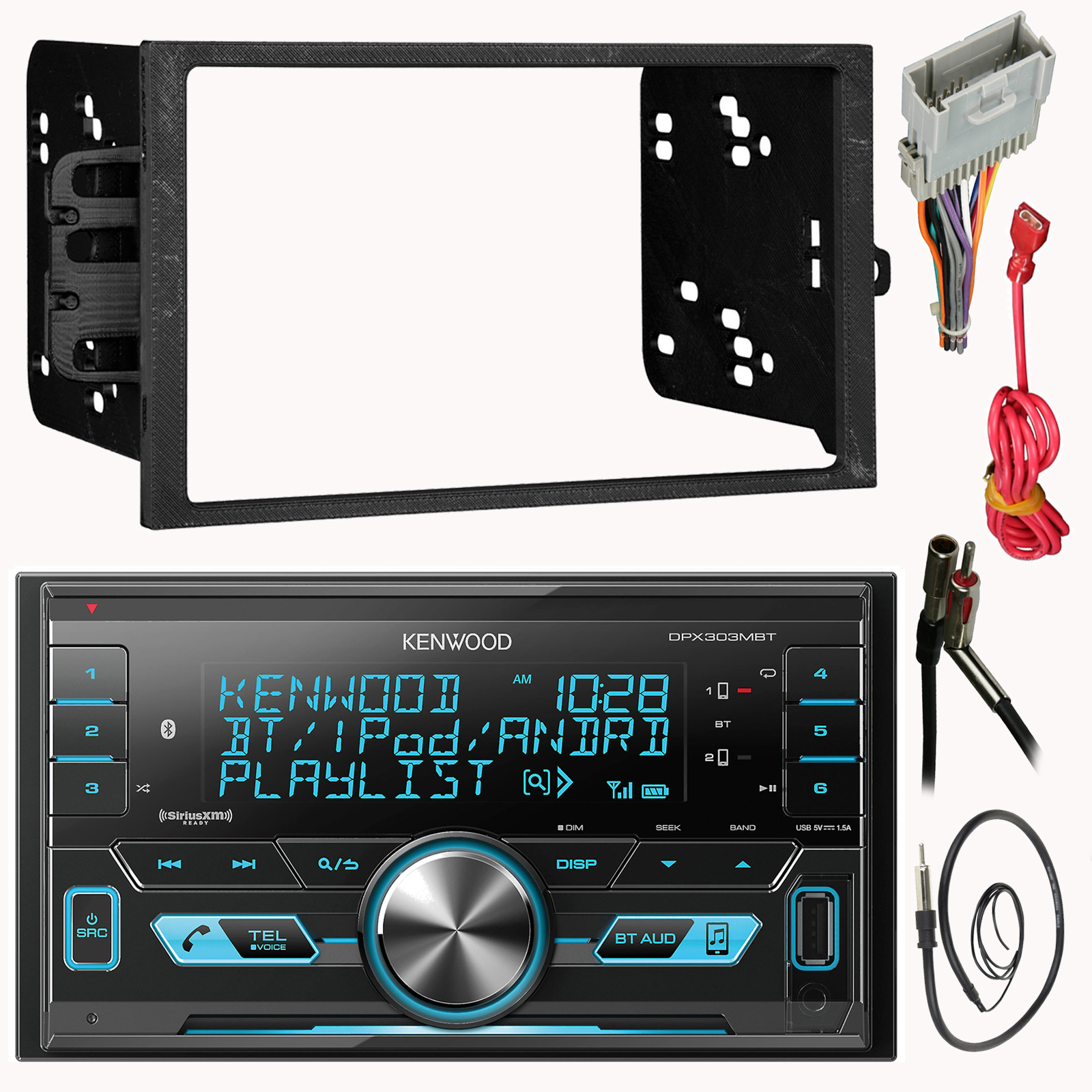 """Kenwood DPX303MBT Double 2 Din MP3 Car Stereo Receiver Bundle Combo With Metra installation kit for car stereo (Fits Most GM Vehicles) + Wire Harness + Enrock 22"""" Radio Antenna With Adapte"""