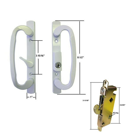 STB Sliding Glass Patio Door Handle Kit with Mortise Lock, White, Keyed ()