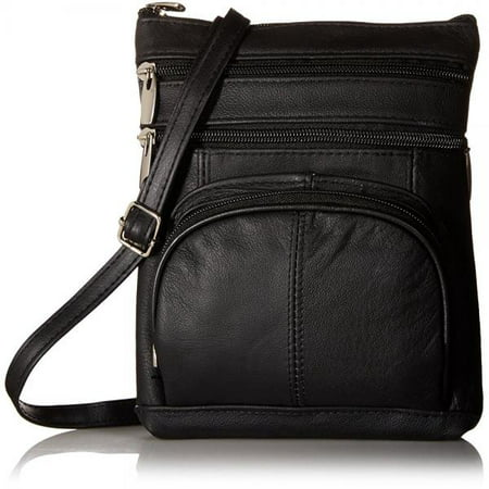 0c105dd48bd0 Roma Leathers - Roma Leathers Genuine Leather Multi-Pocket Crossbody Purse  Bag (Black) - Walmart.com