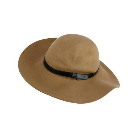 Felt Floppy Hat (Size one size Women's Felt Floppy Hat with Leather Band, Khaki )