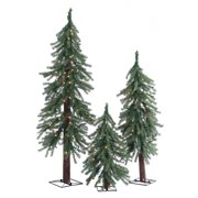 Gerson Pre-Lit Alpine Trees with Clear Lights (Set of 3)