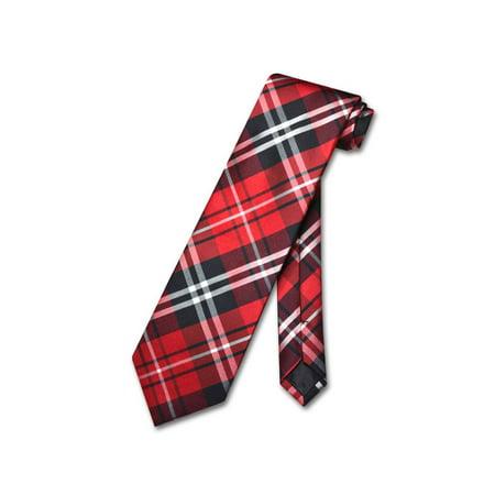 Vesuvio Napoli NeckTie Black Red White PLAID Design Men's Neck Tie Capri Plaid Tie