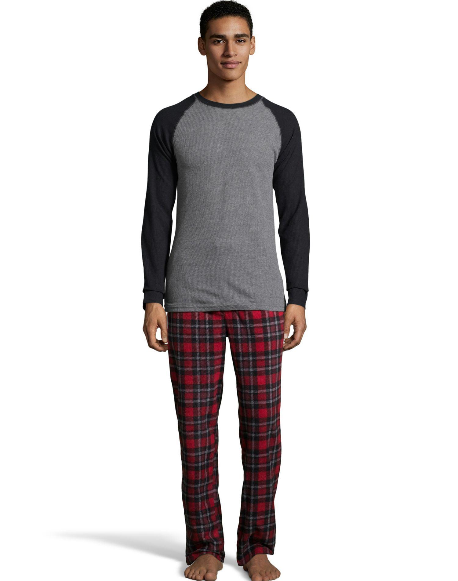 Hanes Mens Big and Tall X Temp Micro Fleece Pajama Set