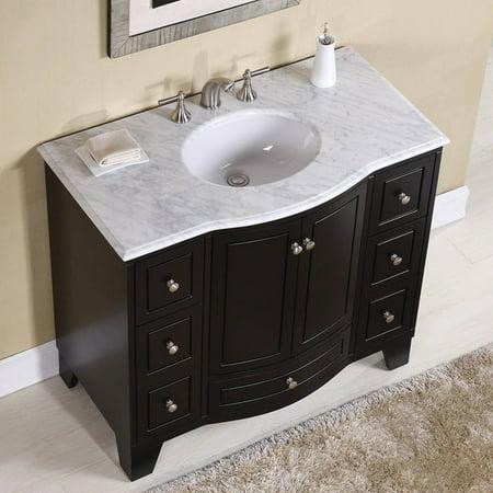 Stufurhome 40 In Grand Cheswick Espresso Single Sink Vanity With Carrara Marble Top