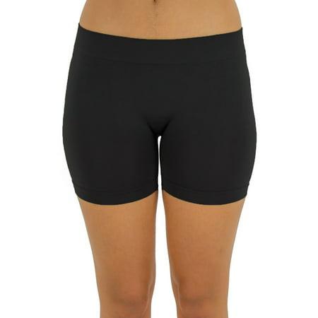 Ola Mari Basic Solid Seamless Layering Shorts, Black, One Size