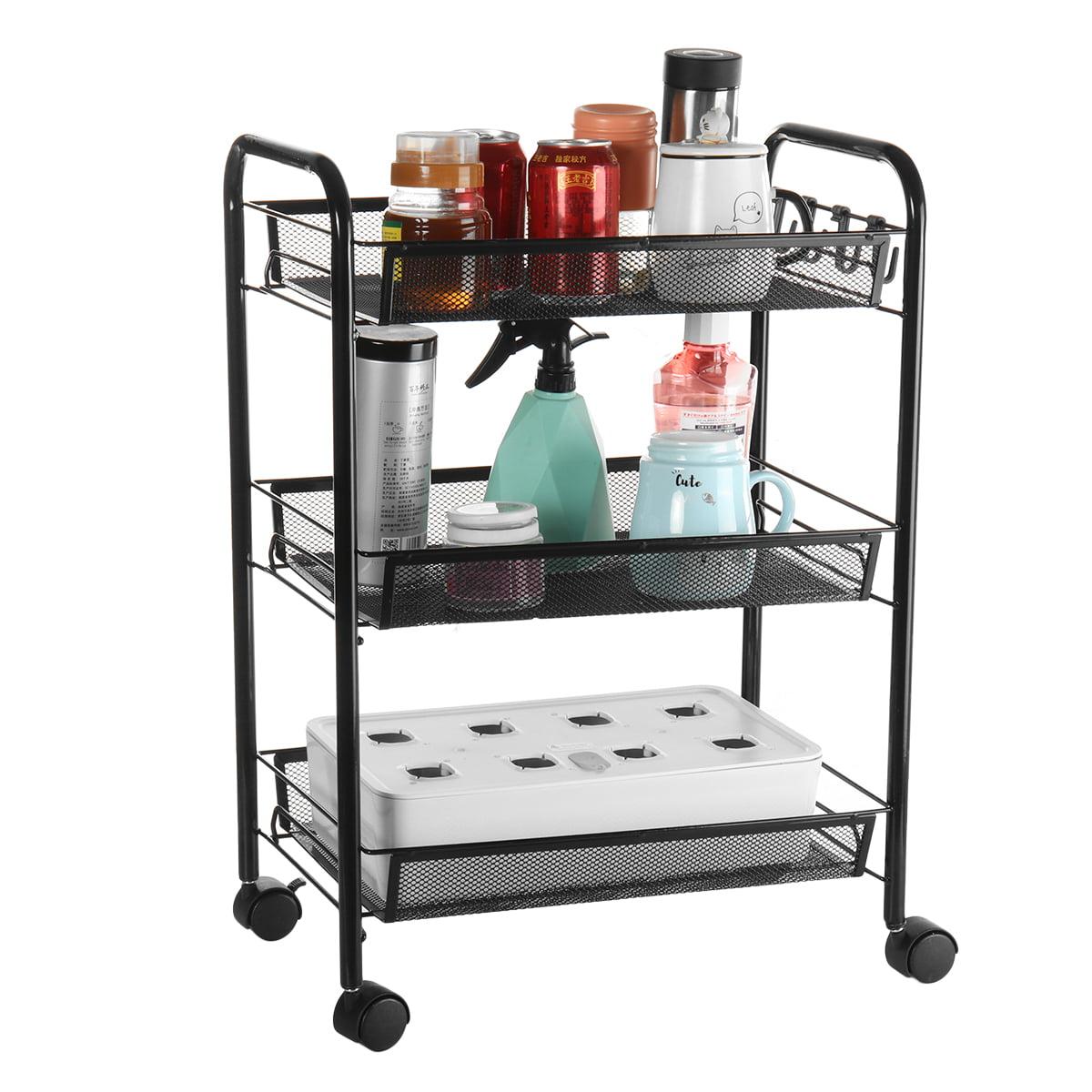 3/4/5Tier Utility Cart Mesh Rolling Storage Cart Kitchen ...