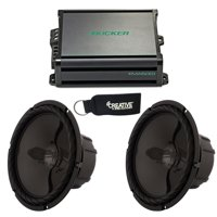"""Kicker 45KMA6001 Marine Amp with two Wet Sounds SS-10BS4 Black 10"""" Single 4 Ohm Subwoofers"""