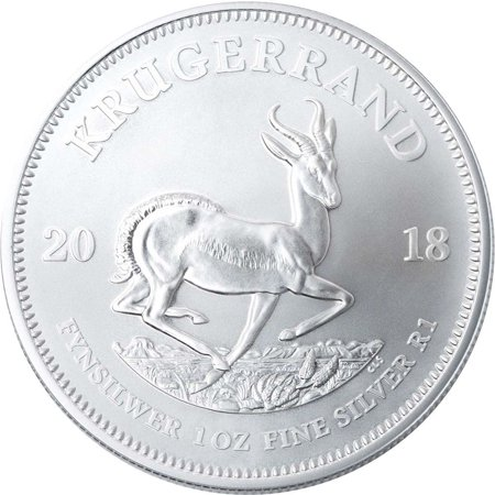 Silver Hollowware (2018 Silver Krugerrand 1 oz South African Silver Coin - First BU Release)