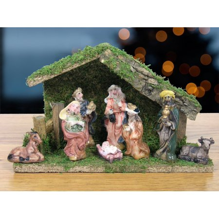 nativity figurine set of 8 polystone figures and stable creche wood and moss 5 - Miniature Christmas Figurines