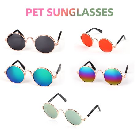 Pet Cat Glasses Classic Retro Circular Stylish Dog Goggles Sunglasses UV Protection for Cats Small (Doc Glasses)