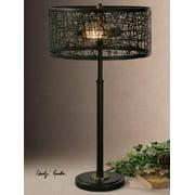 "27"" Rustic Black Meshed Metal Drum Shade Decorative Table Lamp"