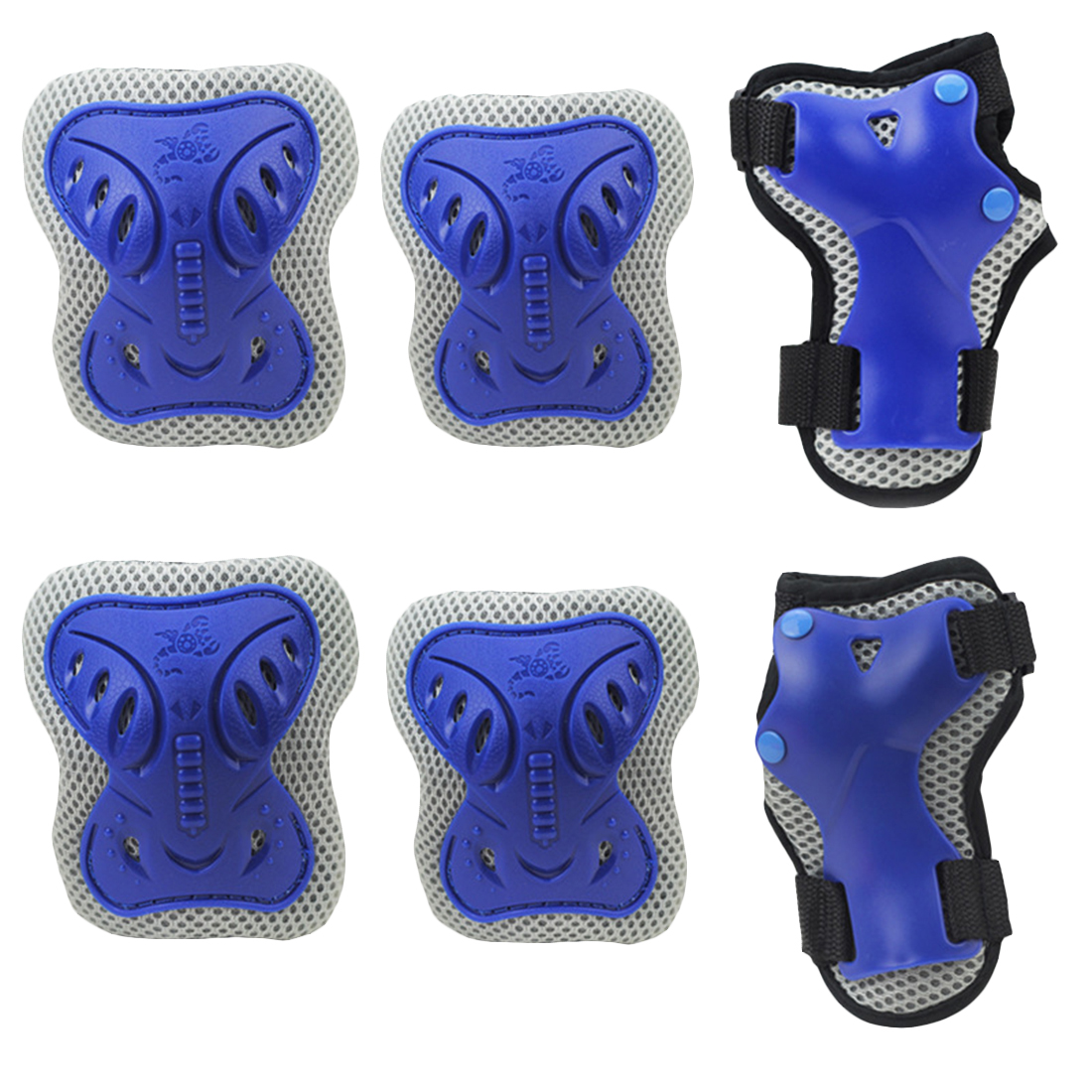 Sport Safety Protective Gear Guard Butterfly Elbow Wrist Knee Pads for Children Skateboard Skating Cycling Riding Blading Protective Set of 6pcs - Blue