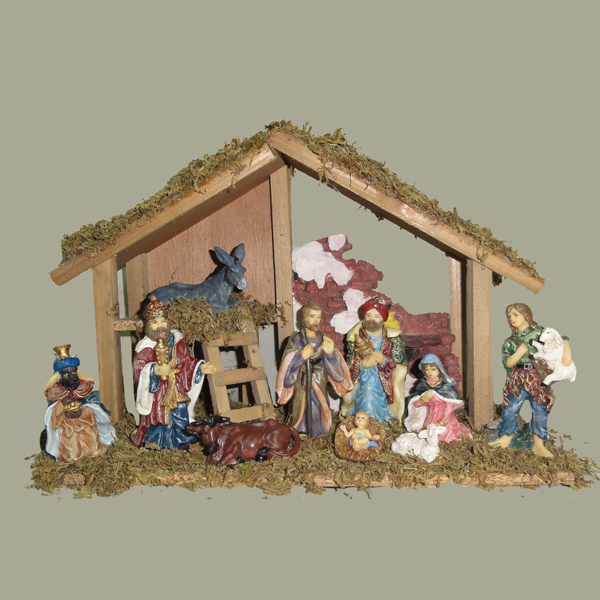 Set of 10 Wooden Christmas Stable With Nativity Figures and Baby Jesus 15""