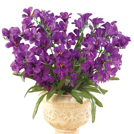 Tree Orchid Artificial Flower Arrangement Bouquet Bush - Set of 3, Purple](Purple Flower Petals)