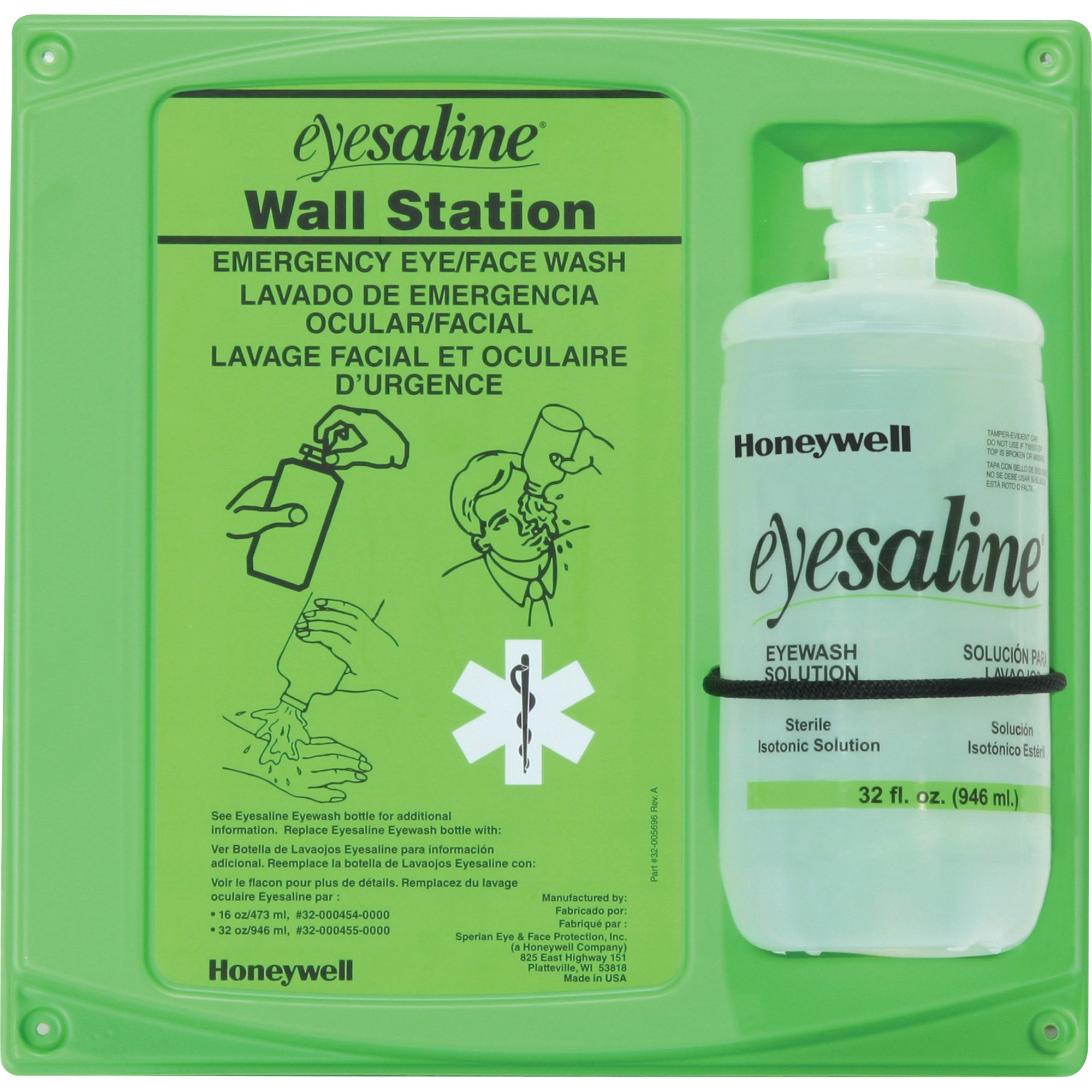 Honeywell, FND320004610, Fendall aline Eyewash Station, 1 Each, Green,Clear, 2 lb