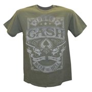 Johnny Cash Men's Mean as Hell T-Shirt, Green, ZRJC1010