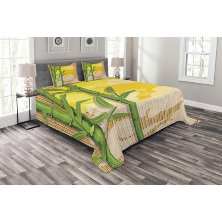 Asian Bedspread Set, Bamboo Tree Branches Full Moon and Abstract Curvy Clouds Stars Eastern, Decorative Quilted Coverlet Set with Pillow Shams Included, Yellow Green Pale Brown, by Ambesonne (Dark Brown Bamboo Tube)
