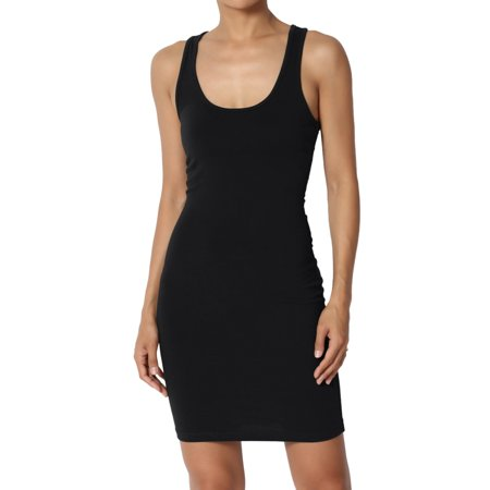 TheMogan Junior's S~3X Scoop Neck Fitted Stretch Bodycon Mini Tank Sexy Dress ()