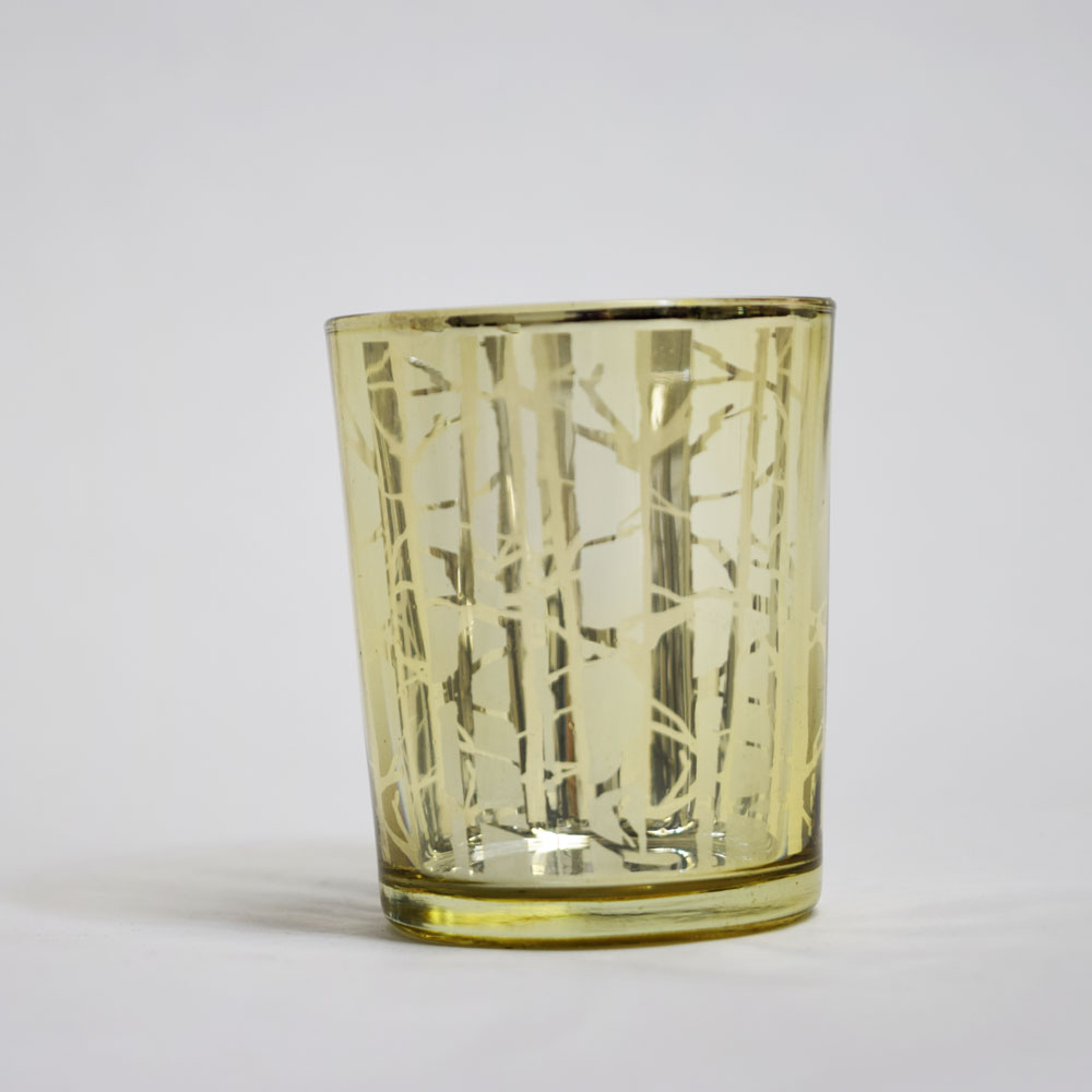 Birch Forest Votive Tea Light Glass Candle Holder Gold (2.5 Inches) (6 PACK) by Asian Import Store, Inc.