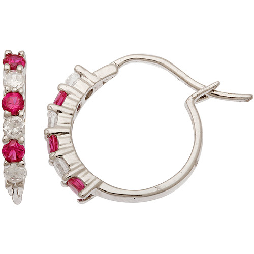 .54 Carat T.G.W. Created Ruby and .60 Carat T.G.W. CZ Sterling Silver Hoop Earrings