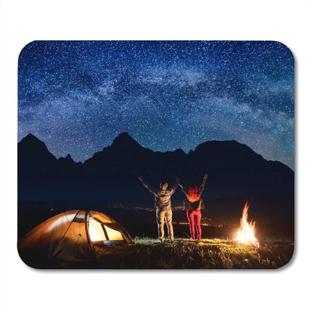 JSDART Romantic Couple Tourists Raised Their Hands Up Under Beautiful Starry Sky and Milky Way Near Bonfire Mousepad Mouse Pad Mouse Mat 9x10 inch - image 1 of 1