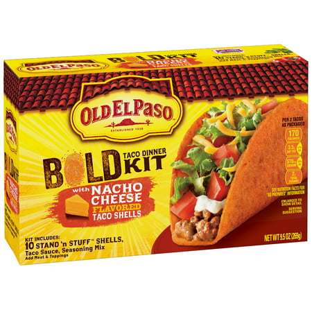 (2 Pack) Old El Paso Stand 'N Stuff Bold Nacho Cheese Taco Dinner Kit 9.5 oz - Party World El Paso