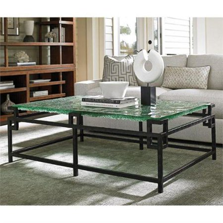 Tommy Bahama Island Fusion Hermes Reef Glass Coffee Table In Black - Hermes coffee table