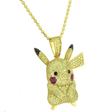 Pikachu Pendant Necklace Yellow Lab Created Cubic Zirconias Pokemon  Sterling Silver Gold Finish New