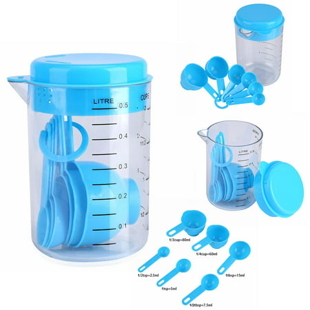 Holiday Clearance 1Set Plastic Measuring Cups with Spoons Measure Kitchen Utensil Cooking Scoops Sugar Cake Baking Scales Spoon