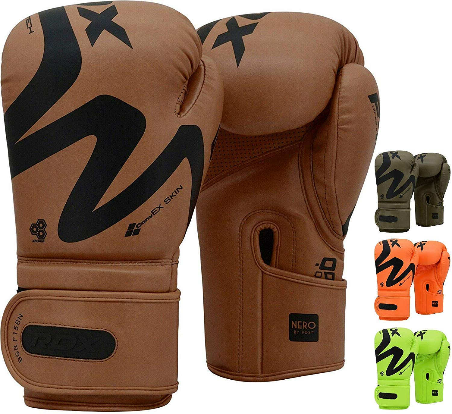 Double End Ball Punching Fight Gloves RDX Boxing Gloves Sparring and Muay Thai Maya Hide Leather Punch Bag MMA Focus Pads KARA Patent Pending Training Mitt for Kickboxing Thai Pad
