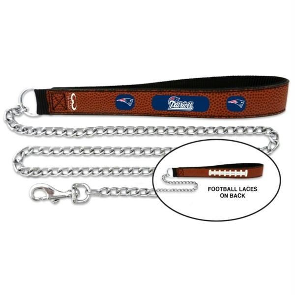 New England Patriots Football Leather and Chain Leash - Medium