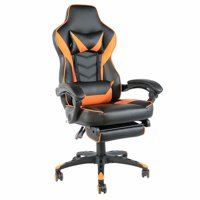 C-type Foldable Nylon Foot Racing Chair with Footrest Black & Orange