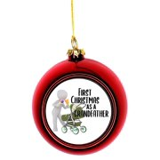 Ornaments Baby Ornament 1st Christmas as a Grandfather Carraige Ball Ornaments Red