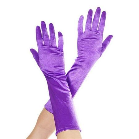 Elbow Length Satin Gloves, Purple