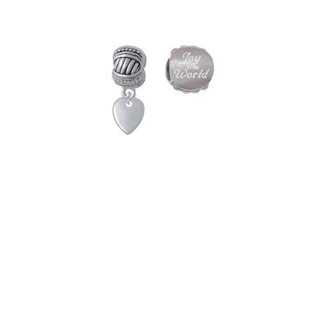 Silvertone Mini Guitar Pick Joy to the World Charm Beads (Set of 2)