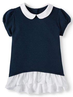Wonder Nation Girls School Uniform 2-fer Interlock Tunic, Sizes 4-18