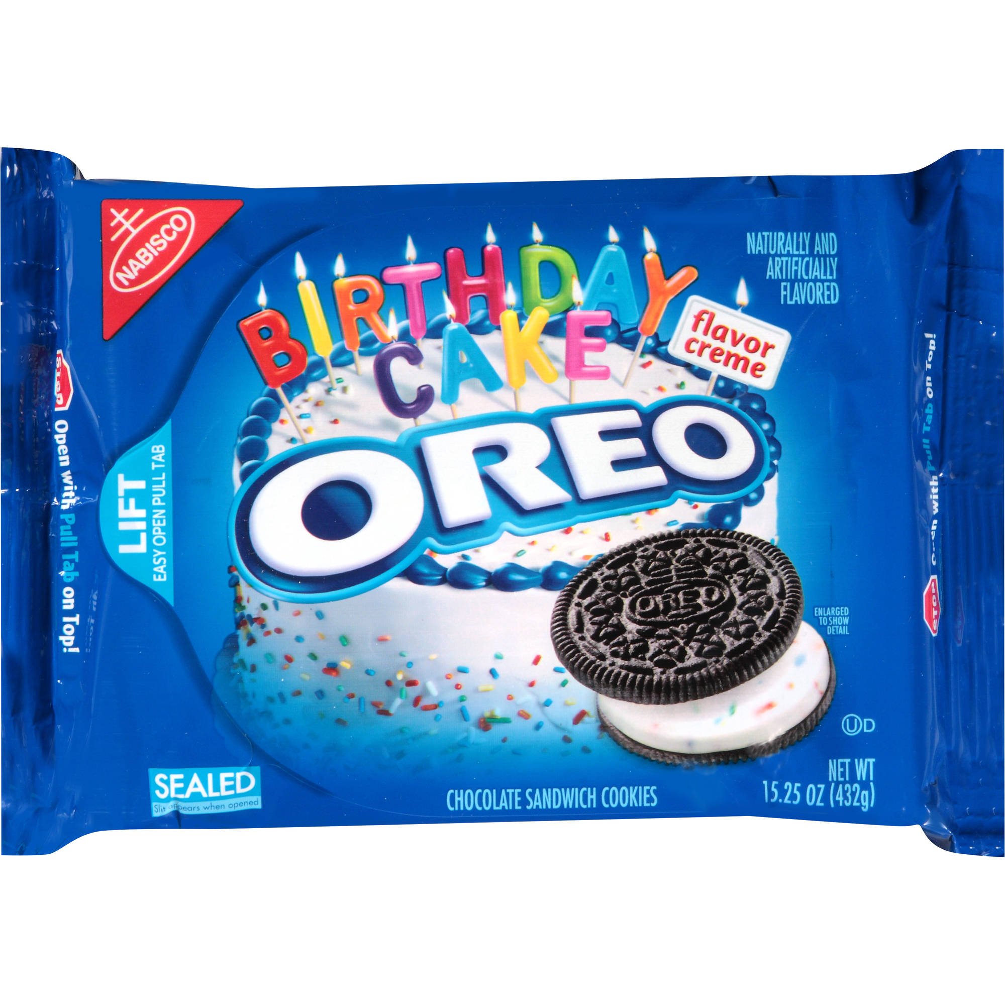 Nabisco Oreo Birthday Cake Flavor Creme Chocolate Sandwich Cookies, 15.25 oz