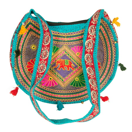 Hippie Sling Handmade Crossbody Bag Boho Chic Patchwork Embroidered Shoulder Purse Gypsy Blue
