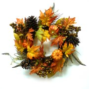 Pumpkins and Feathers Harvest Wreath