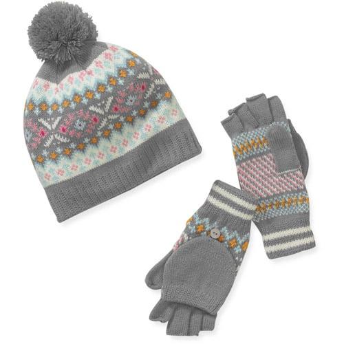 Women's Winter Fair Isle Knit Beanie and Convertible Gloves Set