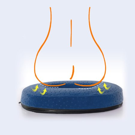 Donut Seat Cushion Comfort Memory Foam Pain Relief Pillow For Back, Tailbone, Pregnancy, Prostate, Surgery ()