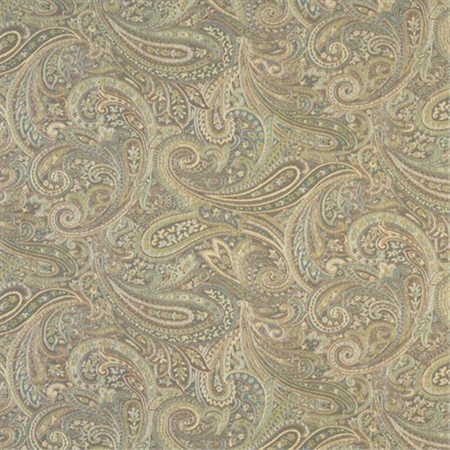 Designer Fabrics F327 54 in. Wide Brown, Blue And Green, Paisley Contemporary Upholstery Grade Fabric