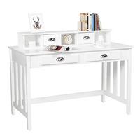 Yaheetech Writing Desk Home Office Computer Desk Wood Organizer 4 Drawers White