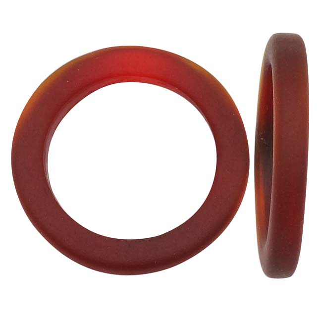 Cultured Sea Glass, Donut Ring Beads 27mm, 2 Pieces, Dark Cherry Red