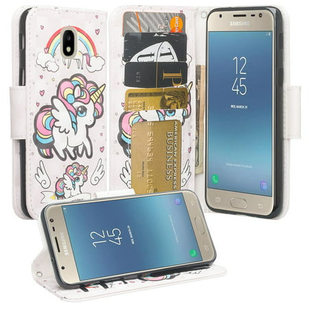For Tracfone/StraightTalk Samsung Galaxy J3 Orbit (S367VL) Case Pu Leather  Flip Wallet Case [ID&Credit Card Slots] Phone Cases - Unicorn Wings
