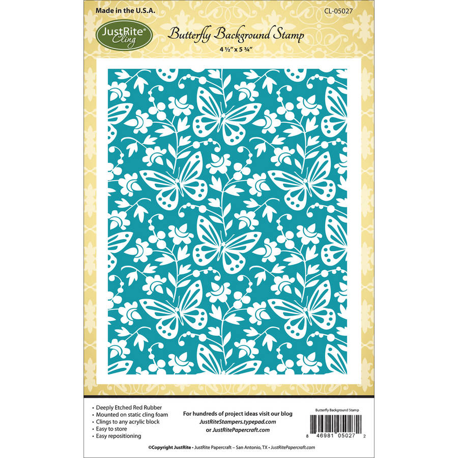 "JustRite Papercraft Cling Background Stamp, 4.5"" x 5.75"", Butterfly"