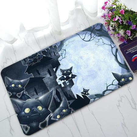 YKCG Halloween Castle Funny Bats Full Moon Night Doormat Indoor/Outdoor/Bathroom Doormat 30x18 inches](Funny Halloween Name Generator)