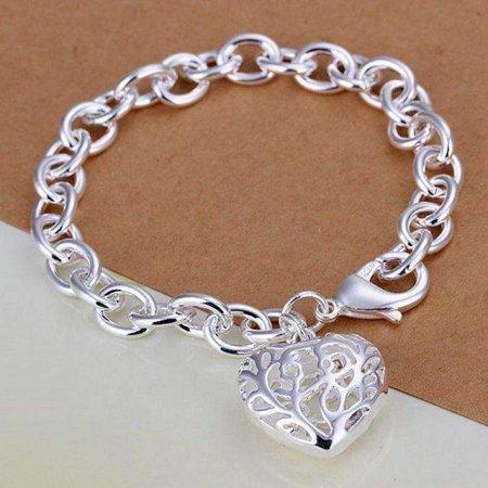 Fancy Puffed Heart - CLEARANCE - Fancy Scroll Puffed Heart Charm Bracelet Silver